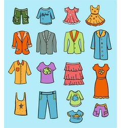 doodle colored family clothing set vector image vector image