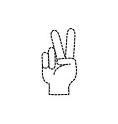 dotted shape hand with peace and love gesture vector image