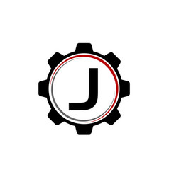 Gear solution logo letter j vector