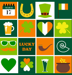 Happy st patrick day set of holidays icons vector