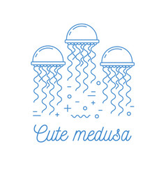 Jellyfish line art logotype vector