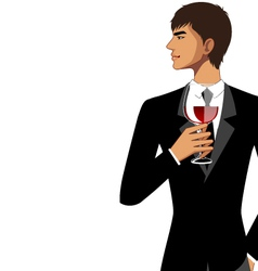 man with wine glass vector image vector image