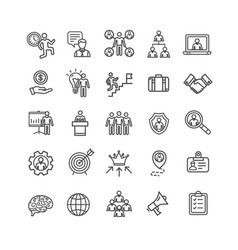 management business black thin line icon set vector image vector image