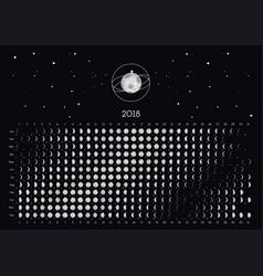 moon calendar 2018 vector image vector image