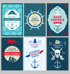 Nautical baby shower birthday beach party vector