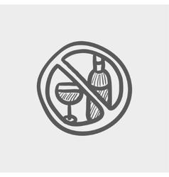 No alcohol sign sketch icon vector image