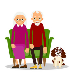 older couple on the sofa sitting elderly woman vector image vector image