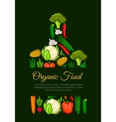Organic vegetables food emblem vector image