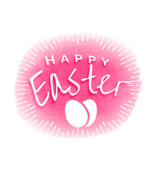 Pink happy easter watercolor background vector