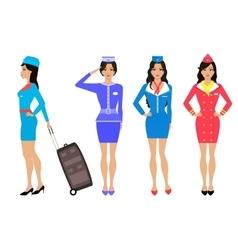 Set beautiful stewardess Air hostess in uniform vector image