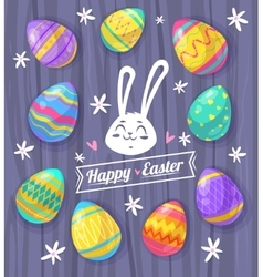 Set of easter eggs cute vector
