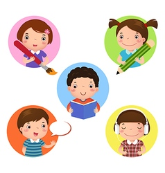 Set of kids mascot learning icon for writing vector