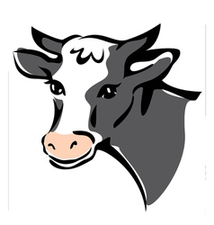 smiling cow portrait vector image