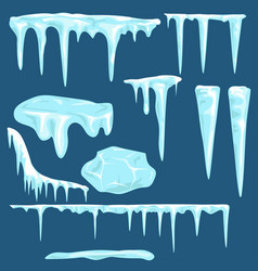 Snow icicles snow caps set vector