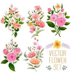Watercolor vintage bunch of flower vector