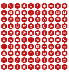 100 dress icons hexagon red vector