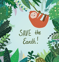 Save the earth card with tropical forest nature vector