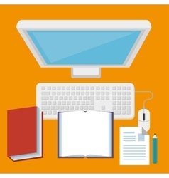 Computer desktop technology isolated icon vector