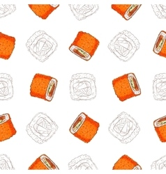 Sushi seamless pattern vector