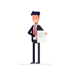 Businessman or manager should document and shows vector image