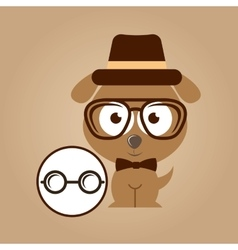 Doggy hipster concept glasses vintage vector