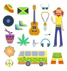 Rastafarian icons set in flat style vector image
