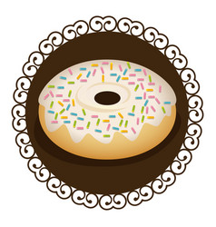 Decorative frame with realistic picture donut with vector
