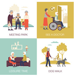 Old age people design concept 2x2 vector