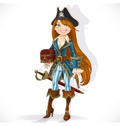 Pirate girl with pistol and chest vector