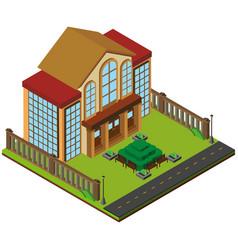 3d design for big building with garden vector