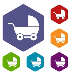 Baby carriage rhombus icons vector