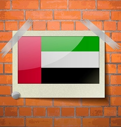 Flags united arab emirates scotch taped to a red vector