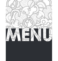 Design menu background doodle of pizza with vector