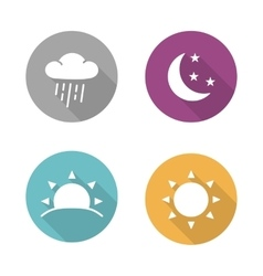 Times of day flat design icons set vector