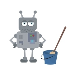 Cute sad house robot and cleaning tools standing vector