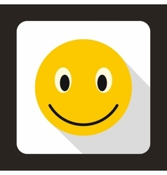 Smiling emoticon icon flat style vector