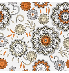 seamless abstract doodle floral pattern vector image