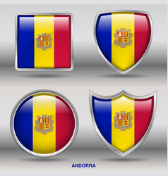 andorra flag in 4 shapes collection vector image vector image