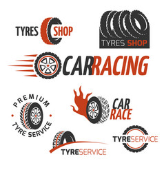 automobile rubber tire shop car wheel racing vector image vector image