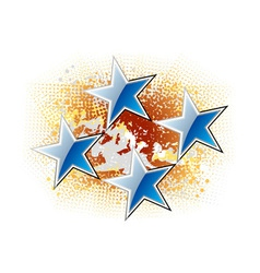 blue stars on the gold background vector image vector image