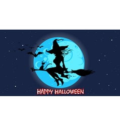 Cartoon silhouette of a witch flying vector