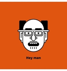 Character - mad bald man thin lines vector