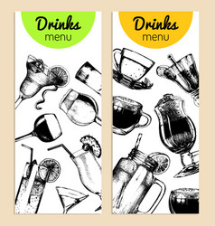 Cocktails soft drinks and glasses for bar vector