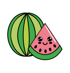 color kawaii happy watermelon icon vector image