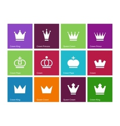 Crown icons on color background vector