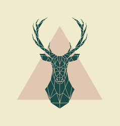 deer green geometric sign vector image vector image