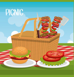 delicious picnic scene icons vector image vector image