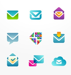E-mail logo icon set based on envelope symbol vector