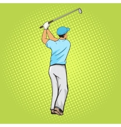 Golf player with bat pop art style vector
