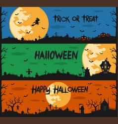 Happy halloween set of flat designed elements vector